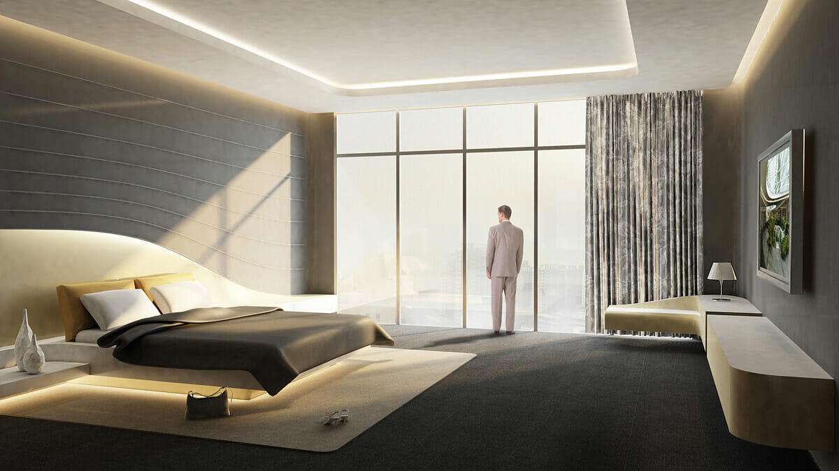 modern hotel room low energy lighting